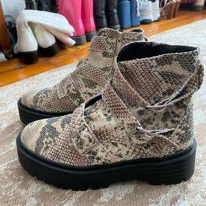 Snakeskin Combat Boots